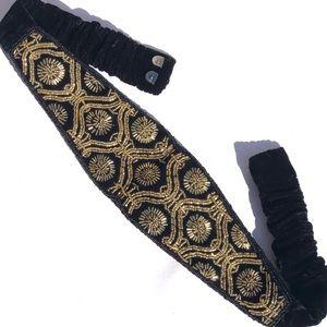 Vintage Gold & Black Velvet Beaded Corset Belt